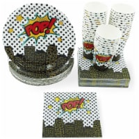 Hero Party Pack, Paper Plates, Napkins and Cups (Serves 36, 108 Pieces)