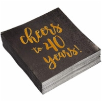 50 Gold Foil Paper Cocktail Napkins for Anniversary Party- Cheers to 40 Years! - PACK