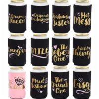 Bachelorette Can Sleeves for Cold Drinks, Party Favors (12 Designs, 12 Pack)