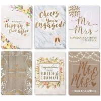 36 Pack Bridal Shower Wedding Love Greeting Cards 6 Rustic Designs w/ Envelope - PACK
