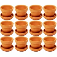12 Pack Small Terra Cotta Pots with Saucers for Indoor and Outdoor, Brown, 2.7 x 2.5 inches - Pack