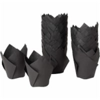 100-Pack Black Paper Tulip Cupcake Liners, Muffin Baking Cups