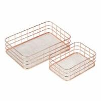 Metal Storage Baskets, Copper Wire Basket Organizer (Rose Gold, 2 Piece Set) - Pack