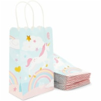 Unicorn Party Bag with Handles, Pastel Rainbow (5.5 x 8.6 x 3 Inches, 24 Pack) - PACK