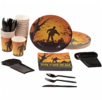 Zombie Halloween Party Bundle, Includes Plates,  Cups, and Cutlery (24 Set) - PACK