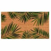 Tropical Green Palm Welcome Mat, Natural Coir Doormat (30 x 17.2 x 0.5 in) - Pack