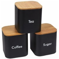 Kitchen Canister Set with Bamboo Lids (4.6 x 4.8 x 4.6, Black, 3 Pieces) - Pack