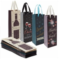 12-Pack Wine Carrying Bags Bulk for Housewarming, Party, 4 Designs, 4.6 x 13.7 x 4 Inches