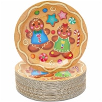 Gingerbread Cookie Christmas Paper Plates for Holiday Party (9 In, 80 Pack) - PACK