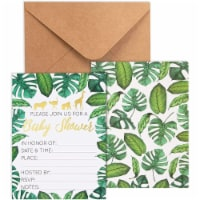 36 Fill-in Baby Shower Invitations with Envelopes Tropical Safari Animal Theme - PACK