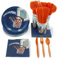 Basketball Party Bundle Includes Plates, Napkins, Cups, Cutlery (Serves 24, 144 Pieces)