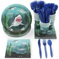 Shark Party Bundle Includes Plates, Napkins, Cups, and Cutlery (Serves 24, 144 Pieces)