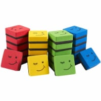 Mini Whiteboard Erasers for Classroom Supplies, Smiley Face (4 Colors, 24 Pack) - PACK