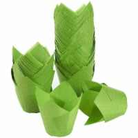 150 Pack Green Cupcake Muffin Baking Liners Wrappers Cups Tulip Shaped - PACK