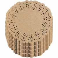 1000-Pack Decorative Lace Round Paper Doilies Placemats for Cakes - Brown, 4 Inches