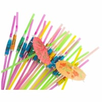 150x Disposable Tropical Hawaiian Luau Party Umbrella Cocktail Drink Straws - Pack