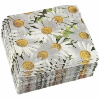 White Daisy Paper Napkins for Baby Shower, Wedding, and Party (6.5 x 6.5 In, 100 Pack) - Pack