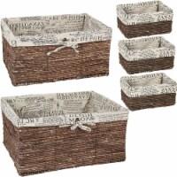 Wicker Basket, Woven Storage Baskets (Brown, 5 Piece Set) - Pack