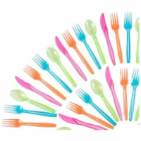 Plastic Silverware Set - 216-Piece Neon Cutlery in Green, Blue, and Pink