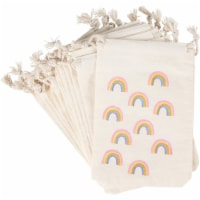 12-Pack Rainbow Gold Glitter Party Mini Canvas Drawstring Bag Treat Gift Pouches - PACK