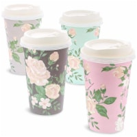 Juvale 48 Pack Vintage Floral Paper Insulated Coffee Cups with Lids, 4 Designs