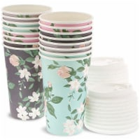 24 Pack Vintage Floral Paper Insulated Coffee Cups with Lids, 4 Designs, 16 Ounces