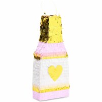 Champagne Bottle Party Pinata with Gold Foil (Pink, White, 16.5 x 7 x 3 Inches) - PACK