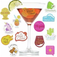Paper Junkie 47-Count Reusable Wine Drink Glass Sticker Cling Markers, Assorted Designs - Pack