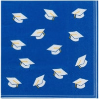 Blue Cocktail Napkins for Graduation Party Supplies (5 x 5 Inches, 100 Pack) - PACK