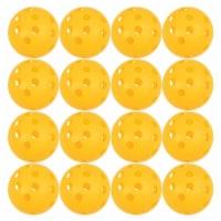 12-Pack Plastic Practice Pickleballs, for Indoor and Outdoor Sport Training, Yellow