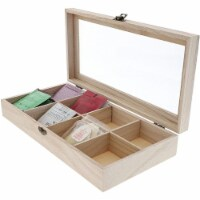 Unfinished Wood Tea Storage Box, 8 Compartments (12.5 x 6 x 2 in) - PACK