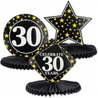 Juvale 3-Pack 30th Birthday Honeycomb Table Centerpiece Party Decoration, 3 Star Designs - PACK