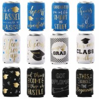 12x Graduation Beer and Soda Can Sleeves Fun Grad Party Favors Gifts Fits 12 oz - Pack