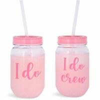 I Do Crew Plastic Mason Jar for Bachelorette Party and Bridal Shower (11+1)