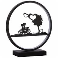 ORE International 13  Metal Girl And Boy on Bicycle Table Lamp in Matte Black - 1