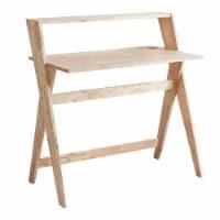 ORE International 38  Mid Century Crisscross Wood Study Desk in Natural - 1