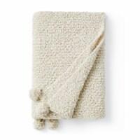 Cozy Potato™ Pom Pom Yarn Knit Throw Blanket - Farmhouse White - 1 Blanket