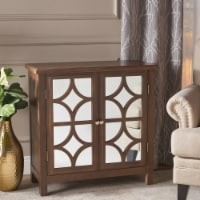 Melee Fir Wood Double Door Cabinet With Tempered Glass Accents
