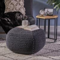 Joyce Knitted Cotton Square Pouf, Dark Grey - 1 unit