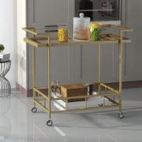 Amaya Industrial Iron and Glass Bar Cart