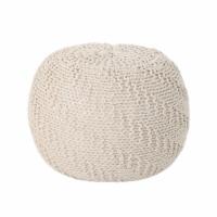 Austin Knitted Cotton Pouf, Beige