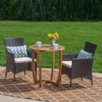 William Outdoor 3 Piece Acacia Wood/ Wicker Bistro Set with Cushions, Teak Finish and - 1 unit
