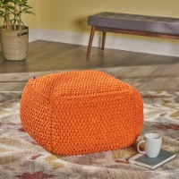 Lucy Knitted Cotton Square Pouf