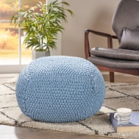 Lucy Knitted Cotton Square Pouf - 1 unit