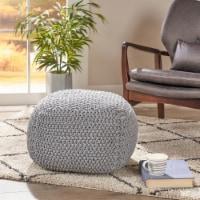 Teresa Knitted Cotton Square Pouf, Light Grey - 1 unit