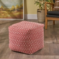 Ashley Indoor Modern Boho Pouf, Ivory with Pink