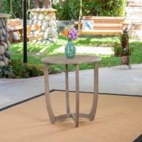 Andria Outdoor Acacia Wood Bistro Table, Gray