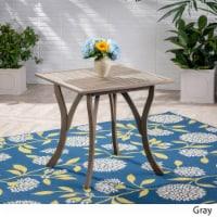 Baia Outdoor Acacia Wood Square Dining Table, Gray