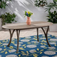 Baia Outdoor Acacia Wood 70-inch Oval Dining Table, Gray - 1 unit