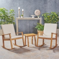 Cole Outdoor Acacia Wood Rocking Chair and Table Set - 1 unit